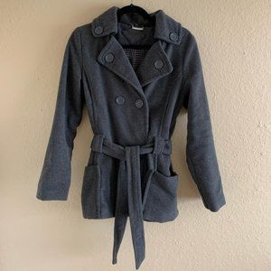 JOU JOU Gray Coat with Tie and Buttons